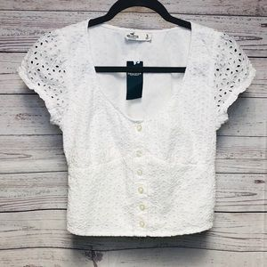 Brand New ! Hollister White Crop Top